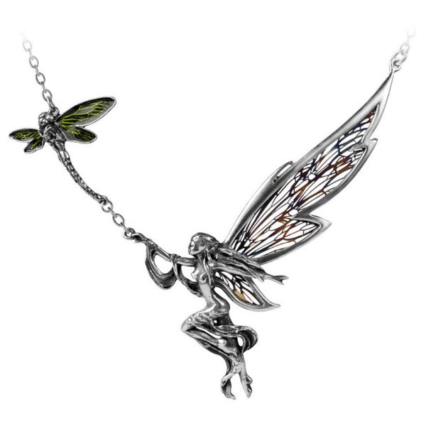 English Pewter Necklace with Enamel, and Stainless Steel a Fairy's Dream Necklace