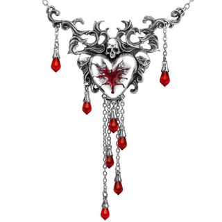 English Pewter Necklace with Crystals and Ribbon Bleeding Heart Necklace