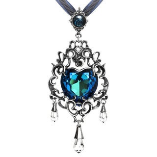 English Pewter with Crystals Empress Eugenie's Blue Heart Diamond Necklace