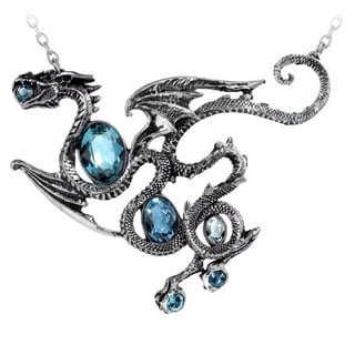 English Pewer Necklace with Crystalss Aqua Dragon Necklace