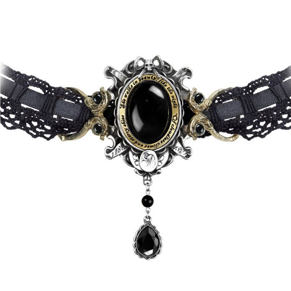 English Pewter Choker with Brass, Crystalss and Black Onyx Cabochons She Walks in Beauty Choker Necklace