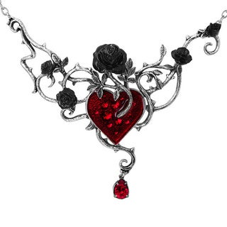 English Pewter and Crystals Bed of Blood-roses Necklace
