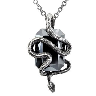 English Pewter with Massive Black Crystals Eve Necklace