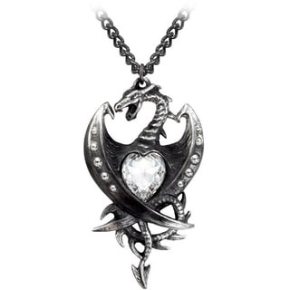 English Pewter with Crystals Diamond Heart Necklace