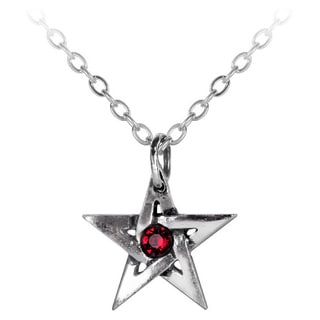 English Pewter with Crystals Crystal Pentagram Necklace