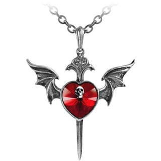 English Pewter with Crystals Death of a Vampire Necklace