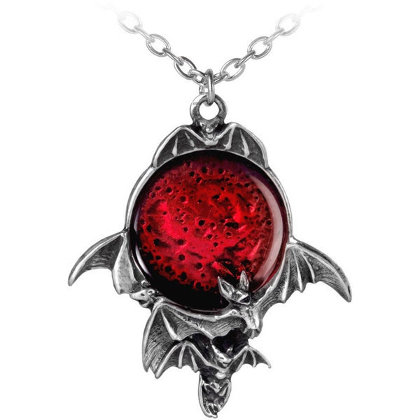 English Pewter with Crystals Blood Moon Necklace
