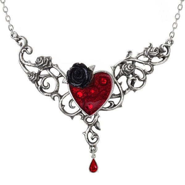 English Pewter Necklace with Enamel, Blackened Pewter and Crystals The Blood Rose Heart Necklace