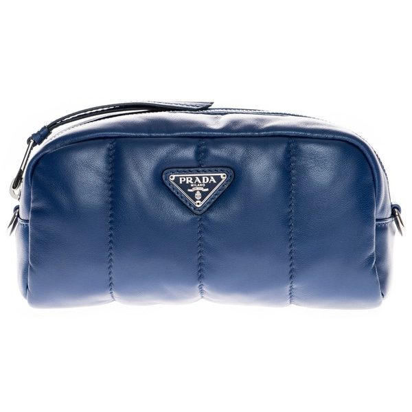 Prada Blue Nappa Leather Bomber Cosmetic Case