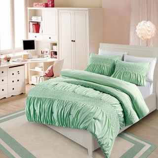 Janeth Rouched Eyelet 3-piece Comforter Set