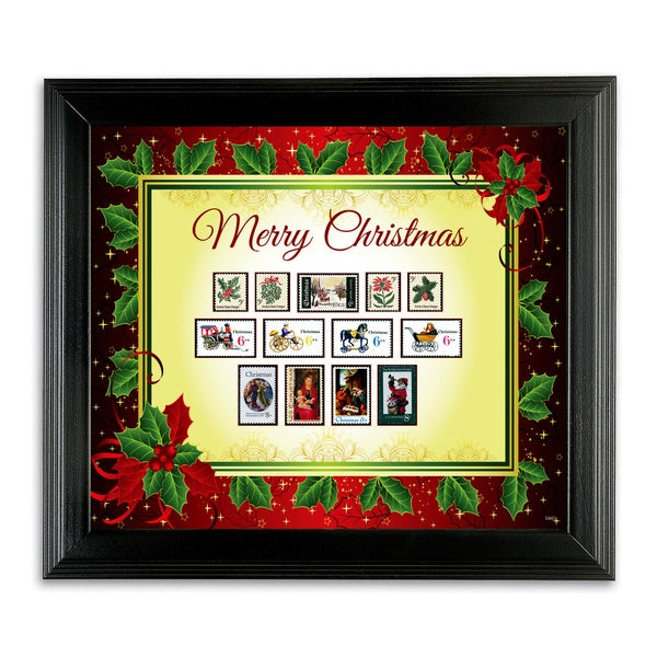American Coin Treasures Framed Vintage Christmas Stamps