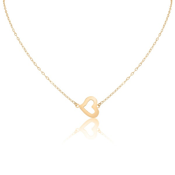 14k Gold Open Heart Chain Necklace
