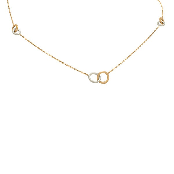 14k Two-tone Gold Interlocking Circles Station Chain Necklace