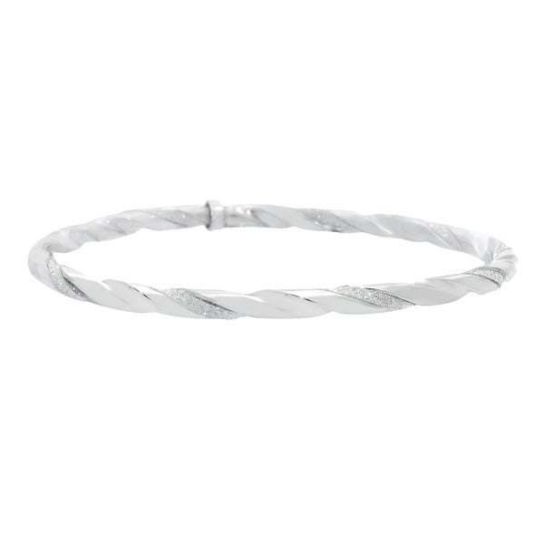 Gioelli Sterling Silver Twisted Glitter Bangle
