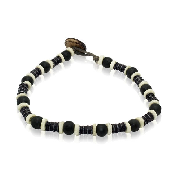 Gioelli Barrel Black Bead Bracelet