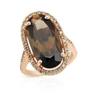 Cocktail Ring with 8.95ct TW Diamonds and Topaz of 14K Rose Gold (As Is Item)