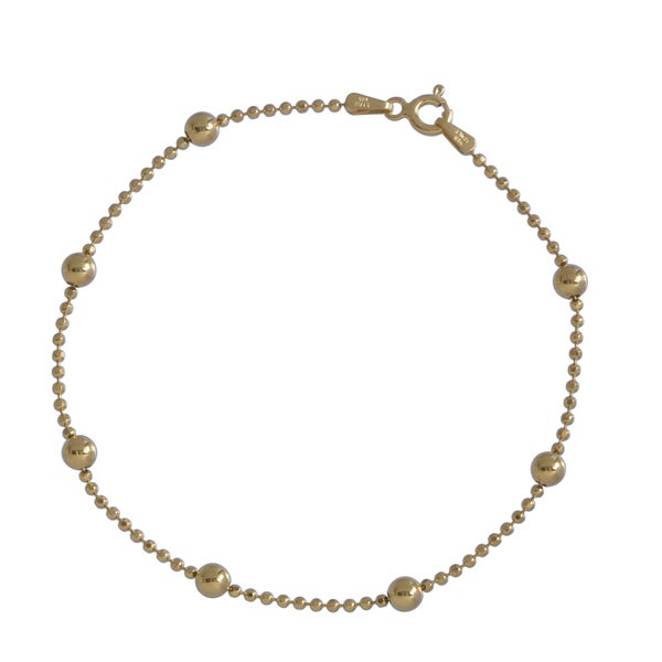 Gold over Silver Diamond-cut Bead Bracelet