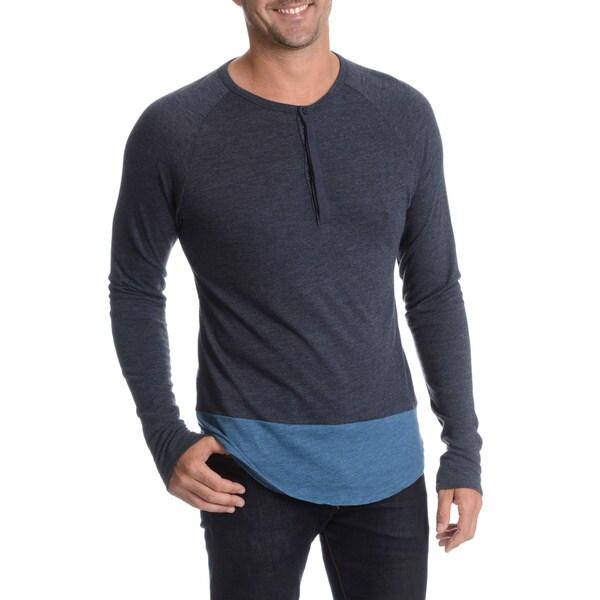 Alternative Men's Printed Front Chest Pocket Henley Shirt
