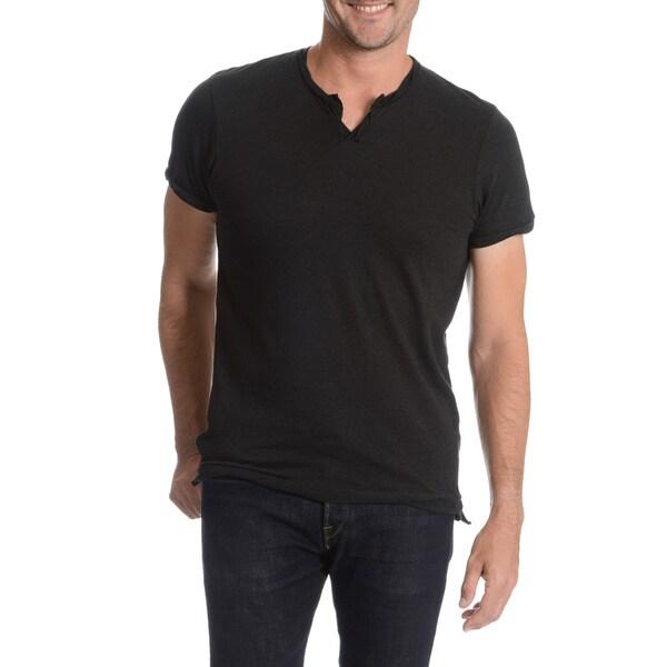 Alternative Men's Striped Cut Neckline Twisted Hem T-Shirt