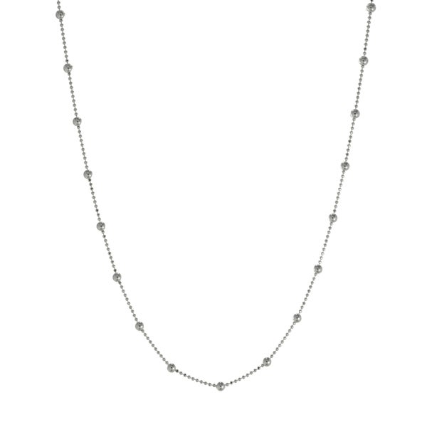 Sterling Silver Diamond-cut Bead Chain Necklace