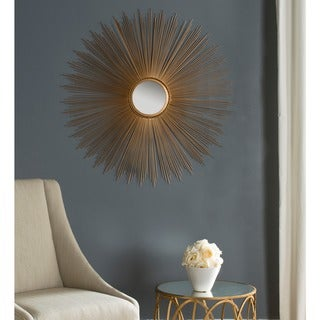 "Safavieh Handmade Art Gold Sunburst 41-inch Decorative Mirror - 40.8"" x 40.8"" x 0.8"""