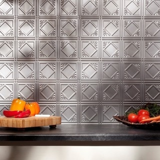 Fasade Traditional 4 Backsplash in Argent Silver 18-square-foot Kit