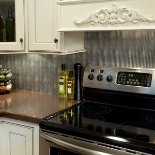 Fasade Rib Backsplash in Crosshatch Silver 18-square-foot Kit