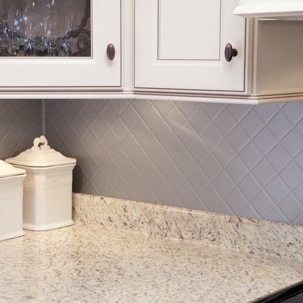 Fasade Quilted Backsplash in Argent Silver 18-square-foot Kit