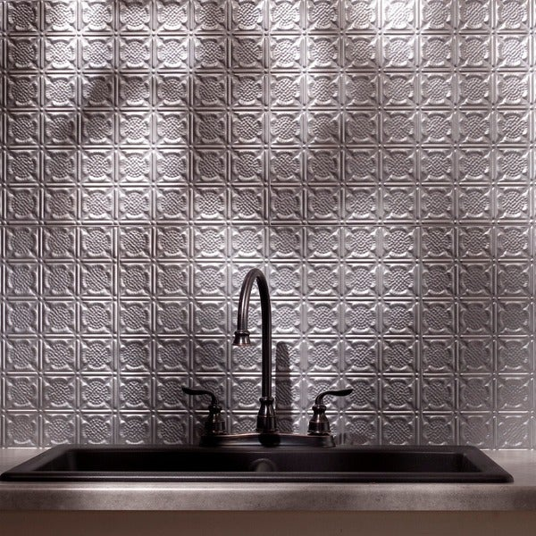 Fasade Traditional Style #6 Backsplash in Argent Silver 18-square-foot Kit 15741476
