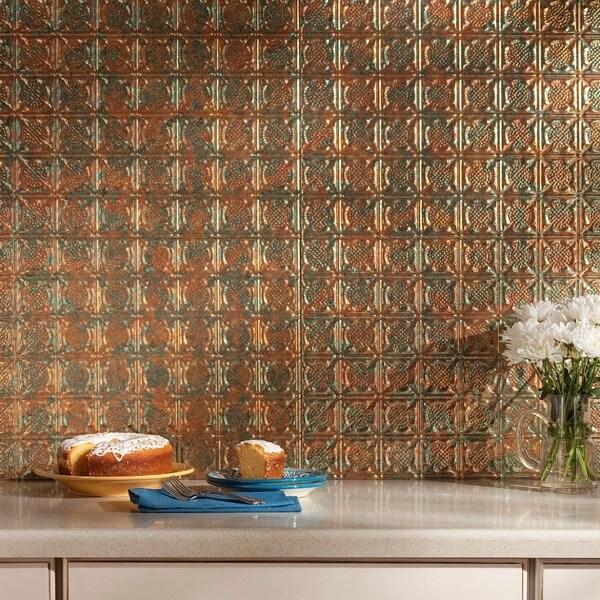 Fasade Traditional Style #6 Backsplash in Copper Fantasy 18-square-foot Kit 15741481