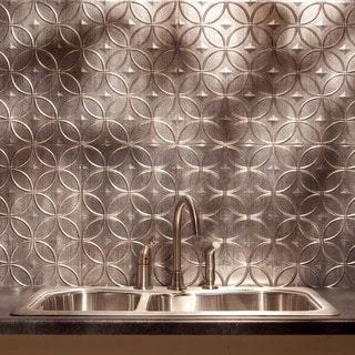 Fasade Rings Backsplash in Crosshatch Silver 18-square-foot Kit
