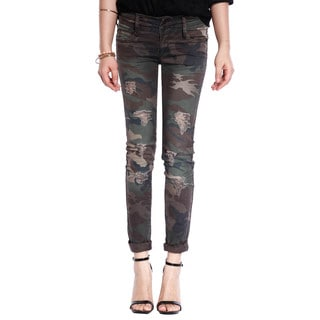 Womens Hot Girl Camo Military Army Skinny Jeans Slim Distressed Trousers