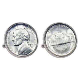 American Coin Treasures Silver Jefferson Nickel Wartime Nickel Bezel Cuff Links