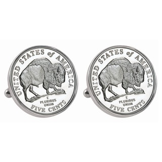 American Coin Treasures Silvertone Westward Journey 2005 Bison Jefferson Nickel Bezel Cuff Links