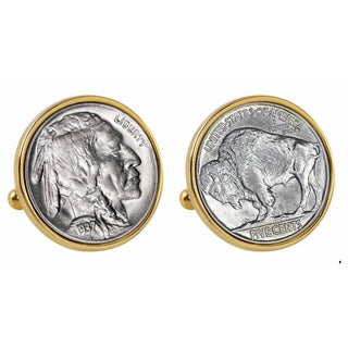 American Coin Treasures Buffalo Nickel Goldtone Bezel Cuff Links