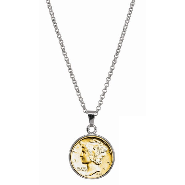 American Coin Treasures Gold-Layered Silver Mercury Dime Silvertone Necklace