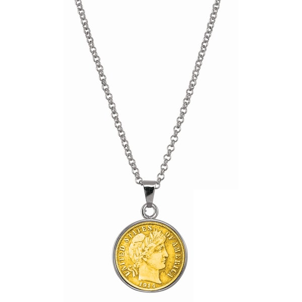 American Coin Treasures Gold-Layered Silver Barber Dime Silvertone Necklace