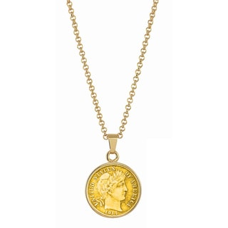 American Coin Treasures Gold-Layered Silver Barber Dime Goldtone Necklace