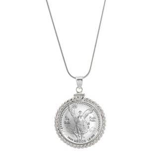 American Coin Treasures Sterling Silver Silver Mexican Libertad Coin Necklace