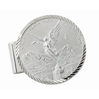 American Coin Treasures Sterling Silver Mexican Libertad 1-ounce Silver Coin Diamond-cut Money Clip
