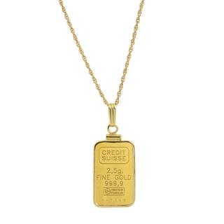 American Coin Treasures 2.5 Gram 24k Gold Ingot Pendant