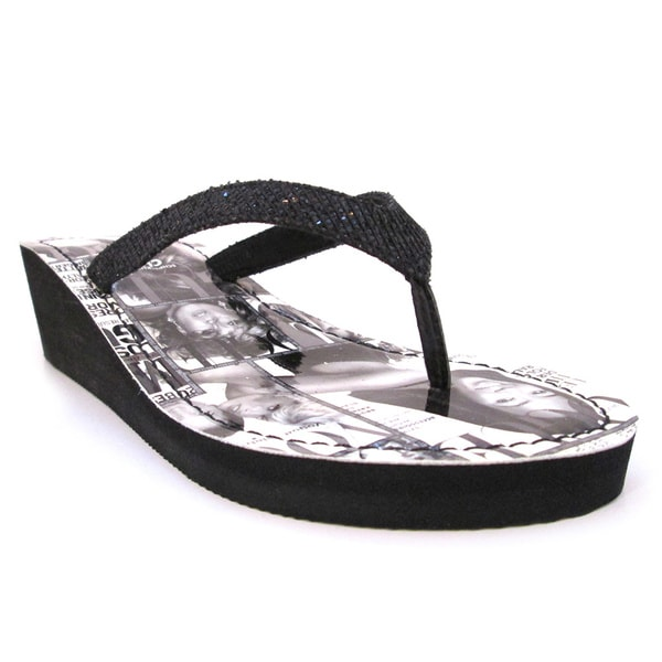 Olivia Miller 'Gossip' Black/White Magazine Printed Wedges