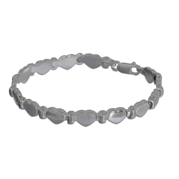 Sterling Silver Heart Stampato Bracelet