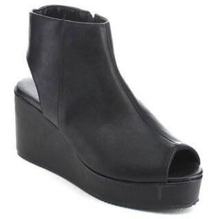 Qupid Alert-12 Women's Peep Toe Side Zipper Mule Platform Wedge