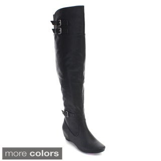 De Blossom Collection Amar-53A Women Buckle Elastic Over Knee High Riding Boots