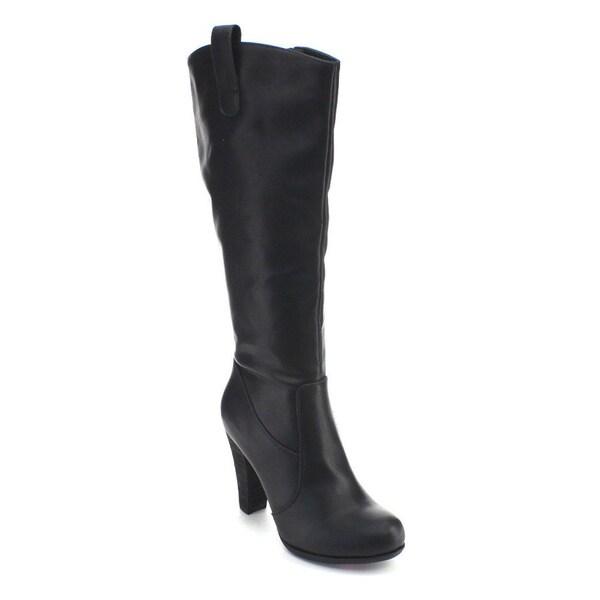 De Blossom Collection Dove-12 Women's Elastic Stacked Heel Knee High Dress Boots