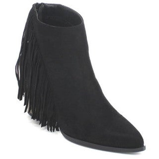 Qupid Tilt-01 Women Pointed Toe Back Zip Side Fringe Chunky Ankle Booties