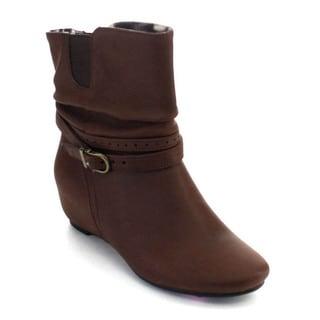 De Blossom Collection Amar-51X Women's Buckle Hidden Wedge Slouch Ankle Booties