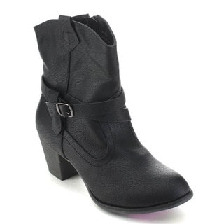 De Blossom Collection Kiosk-21 Women's Western Style Cowboy Ankle Booties