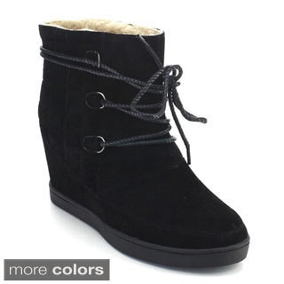 De Blossom Collection Yoga-2 Women's Lace Up Quilted Winter Snow Ankle Boots